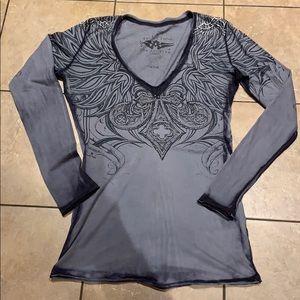 Affliction long sleeve v-neck top size Large